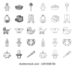 Birth of a baby mono,outline icons in set collection for design. Newborn and accessories vector symbol stock web illustration.