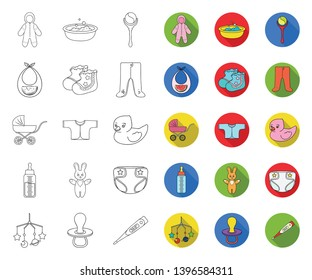 Birth  a baby outline,flat icons in set collection  design. Newborn and accessories vector symbol stock web illustration.