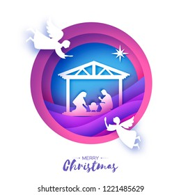 Birth of Christ. Baby Jesus in the manger. Holy Family. Magi. Three wise kings and star of Bethlehem - east comet. Nativity Christmas graphics design in paper art style. Vector
