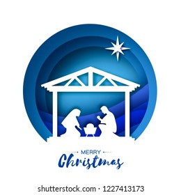 Birth of Christ. Baby Jesus in the manger. Holy Family. Magi. Star of Bethlehem - east comet. Nativity Christmas design in paper art style. Happy new year. Circle tunnel frame. Blue.
