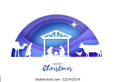 Birth of Christ. Baby Jesus in the manger. Holy Family. Magi. Three wise kings and star of Bethlehem - east comet. Nativity Christmas in paper art style. Semicircle tunnel frame. Violet.