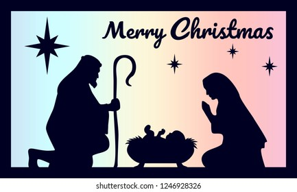 Birth of Christ. Baby Jesus in the manger. Holy Family. Magi. Star of Bethlehem - east comet. Nativity graphics design with light pastel gradient. Merry Christmas card. Vector illustration.