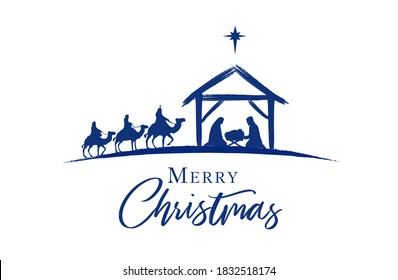 Birth of Christ, baby Jesus reaching the Magi bear gifts, three wise kings and star of bethlehem, nativity christmas graphics design. Vector illustration with Mary and Joseph in silhouette