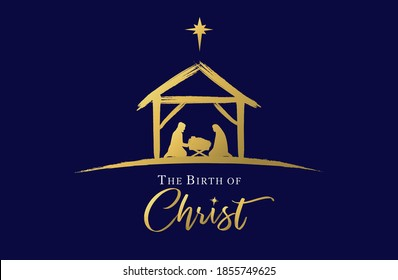 The birth of Christ, Jesus in manger and star. Holy family, baby Jesus & star of Bethlehem, Christmas golden graphics design. Vector nativity illustration Mary and Joseph in silhouette on blue