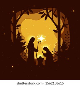Birth of Christ. Traditional Christian Christmas Nativity Scene of baby Jesus in the manger with Mary and Joseph in silhouette. Holy Night. Paper art illustrations.