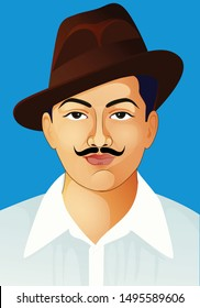 Birth day of 28 September- Bhagat Singh  Indian freedom fighter illustration of Bhagat Singh