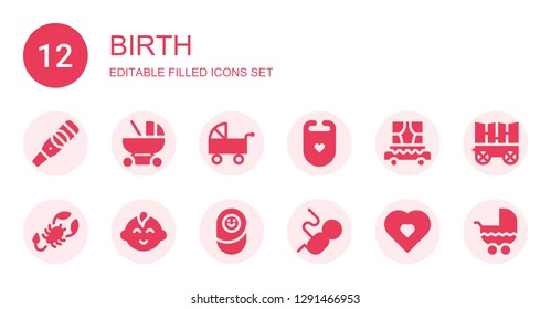 birth icon set. Collection of 12 filled birth icons included Pregnancy test, Baby carriage, Pushchair, Bib, Carriage, Scorpion, Baby boy, Newborn, Fetus, Pregnancy, Stroller