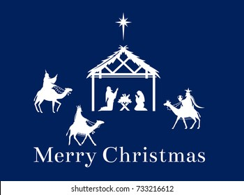 The birth of Jesus Christ in Bethlehem. The Magi bear the gifts of the mission. Christmas nativity scene of baby Jesus in the manger with Joseph, Mary and shepherds.