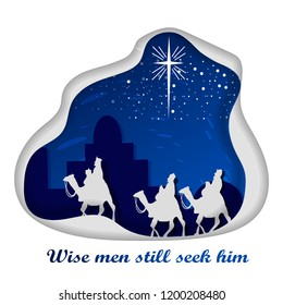 Birth of Jesus Christ on the Christmas day with Christian Nativity Scene of three wise men looking up at the star at night in Bethlehem paper art style