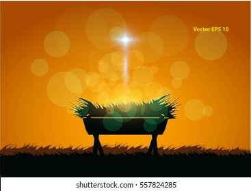 Birth of Jesus with manger  eps 10