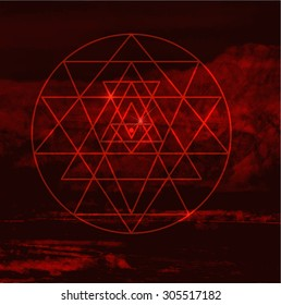 The birth of the world. Sri Yantra against the backdrop of Zion desert Sacred geometry and alchemy symbol. Sriyantra - symbol of Hindu tantra formed by nine interlocking triangles.Stock vector
