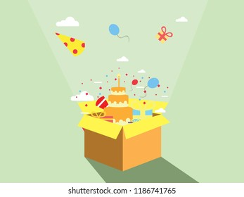 birthay celebration concept in the box, suitable for background, banner, wallpaper, books and cards. modern design. vector illustration