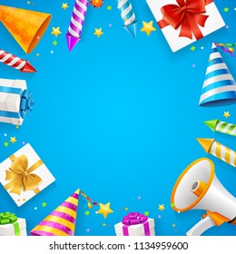 Birthday or Anniversary Celebration Banner Card Background on a Blue with Petard for Firework on Entertainment. Vector illustration