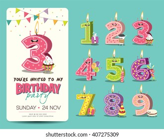 Birthday invitation images stock photos vectors shutterstock birthday anniversary numbers candle with funny character birthday party invitation card template filmwisefo