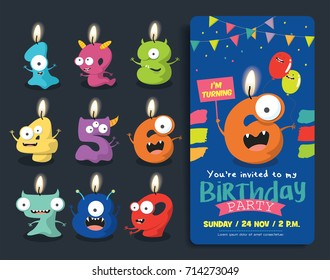 Birthday Anniversary Numbers Candle with Funny Monster Character & Birthday Party Invitation Card Template