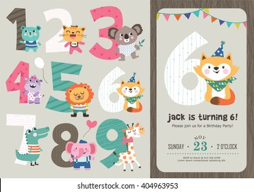 2nd birthday party invitation card em vetor stock 406617151 birthday anniversary numbers with cute animals birthday party invitation card template stopboris Choice Image
