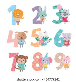 Birthday anniversary numbers with cute animals character. Funny lion, rabbit, cat, dog, mouse, monkey, elephant and pig. For baby birthday, party, invitation.