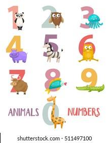 Birthday anniversary numbers with cute animals character.Panda,yak, crocodile, giraffe, owl, hippo, fish, zebra