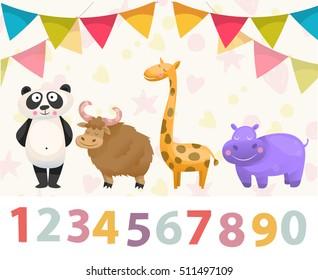 Birthday anniversary numbers with cute animals character.Panda, giraffe, hippo