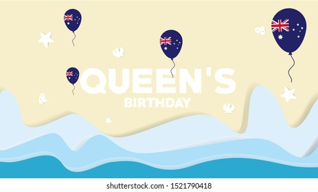 Queen's Birthday Australia at beautiful beach with balloon, shell and star fish