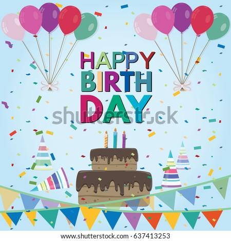 Birthday Background Balloons Birthday Cake Candles Stock Vector