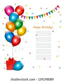 Birthday background with balloons. Vector.