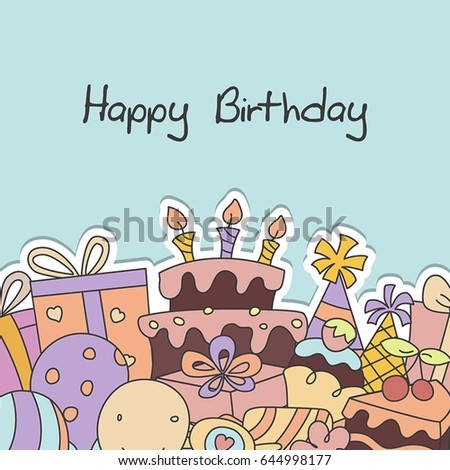 Birthday Background Cake Birthday Party Elements Stock Vector
