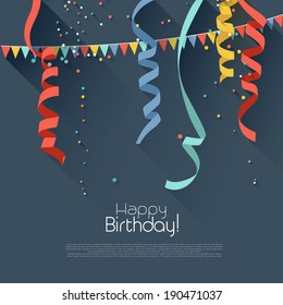 Birthday background with colorful confetti - modern flat style