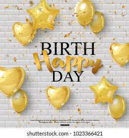 Birthday background with golden balloons and confetti. Vector illustration
