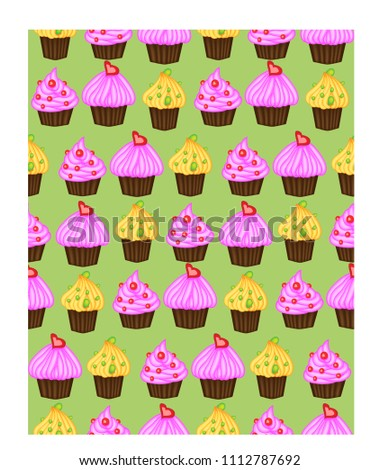 Birthday Background Seamless Pattern With Cupcakes And Muffins Cute Cartoon Characters Emoji