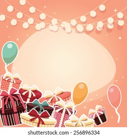 Birthday background with sticker presents and balloons, vector illustration