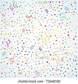 Birthday background with streamer and confetti, element for design. Vector illustration.