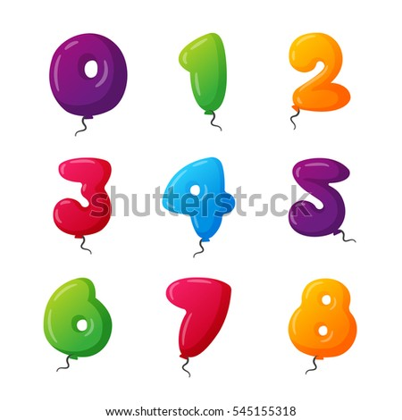 Birthday Balloon Numbers Vector Set Anniversary Numbered Icons Party Celebrating Numeral Alphabet 0 1st 2nd 3 4 5 6 7 8 Year Numbering Template