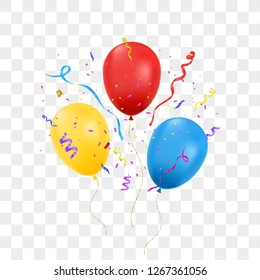 Birthday balloons with confetti isolated on transparent background. Happy birthday concept. Vector illustration.
