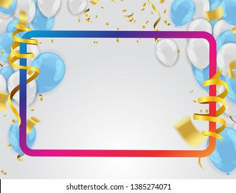 Birthday balloons template. Luxury shiny colorful balloons vector graphic. Vector Illustration of a Happy Birthday Greeting Card Design, flyer, poster sign banner web postcard, invitation