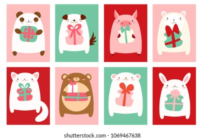 Birthday banner, background, flyer, placard with cute animals. Holiday poster for scrapbooking. Vector template card for greeting, decoration, congratulation, invitation. EPS8