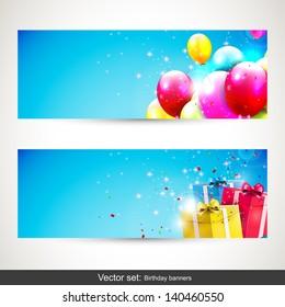 Birthday banners - vector set