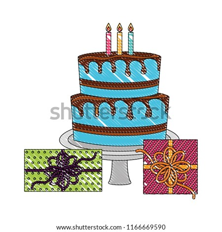 Birthday Big Cake With Candles And Gift Boxes Celebration