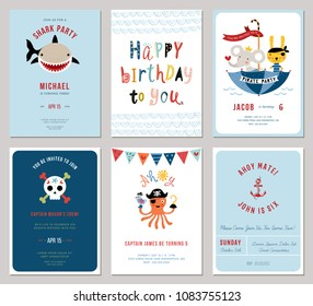 Birthday Boy Invitation Cards Set Little Bunny And Octopus Pirates Cartoon Shark Decorative