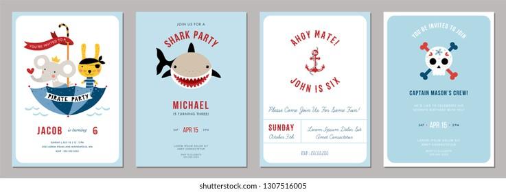 Birthday boy invitation cards set. Vector illustration.