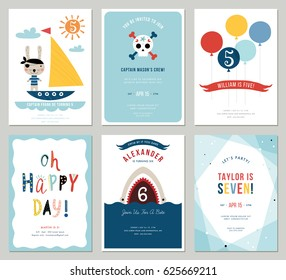 Birthday Boy Invitation Cards Set Colorful Balloons Cute Rabbit Pirate Cartoon Shark And