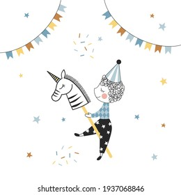 Birthday Boy vector illustration isolated on white background. Little kid ride vintage horse toy design. Party Boy cartoon character clipart. Blue Boyish Party graphics