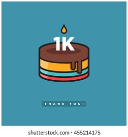 Birthday Cake for 1 Thousand Likes! (Vector Design Template For Social Networks Thanking a Large Number of Subscribers or Followers) 1000