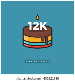 Birthday Cake for 12K Likes! (Vector Design Template For Social Networks Thanking a Large Number of Subscribers or Followers) 12000