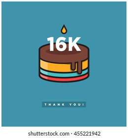 Birthday Cake for 16K Likes! (Vector Design Template For Social Networks Thanking a Large Number of Subscribers or Followers) 16000