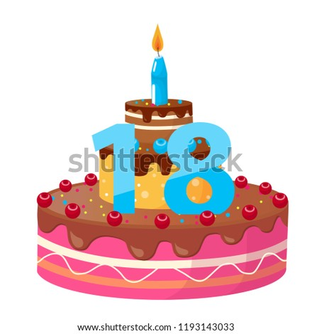 Birthday Cake 18 Years Vector