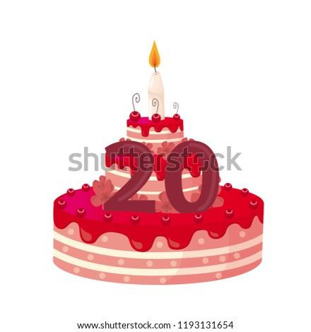 Birthday Cake 20 Years Vector