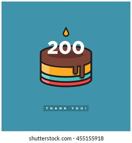 Birthday Cake for 200 Likes! (Vector Design Template For Social Networks Thanking a Large Number of Subscribers or Followers)