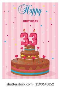 Birthday Cake 33 Years Vector