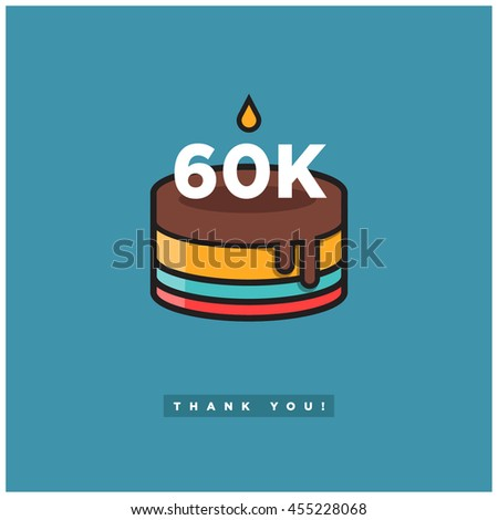Birthday Cake For 60 Thousand Likes Vector Design Template Social Networks Thanking A